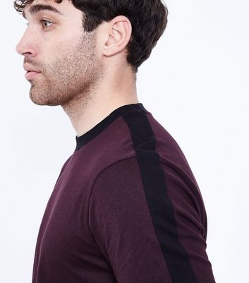 Dark Red Stripe Side T-Shirt New Look