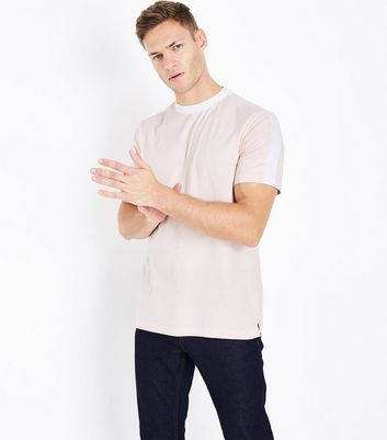 Pink Contrast Stripe T-Shirt New Look