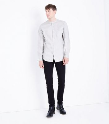 Stone Grandad Collar Long Sleeve Shirt New Look