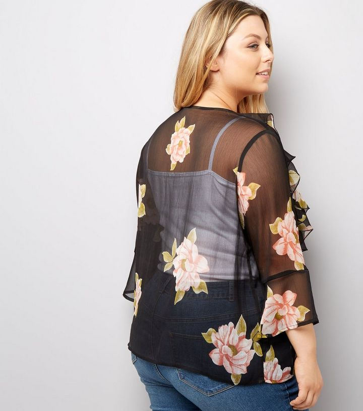 44133488d ... Curves Black Floral Print Chiffon Tie Front Kimono. ×. ×. ×. Shop the  look