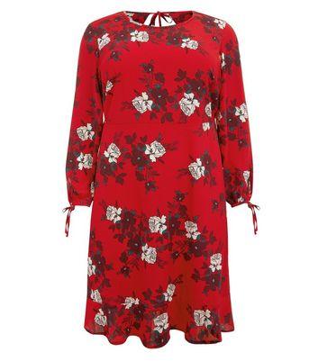 Curves Red Floral Peplum Hem Dress New Look