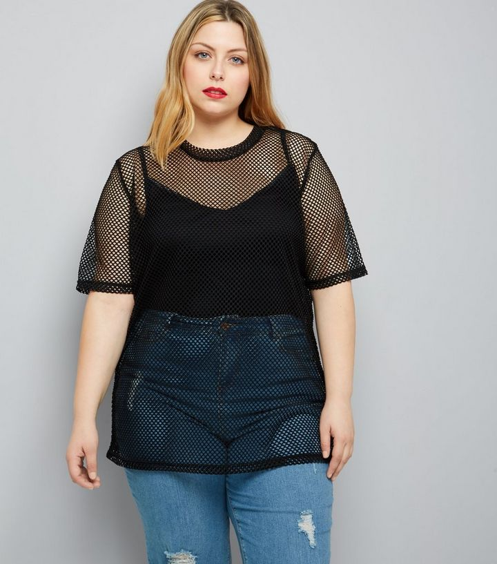 cd6495621a Curves Black Fishnet Oversized T-Shirt