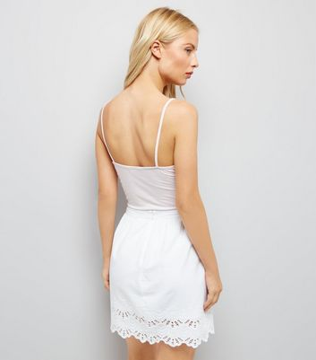 White Cut Out Hem Mini Skirt New Look