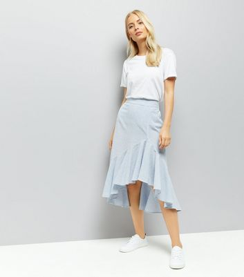 Blue Stripe Seersucker Frill Hem Midi Skirt New Look