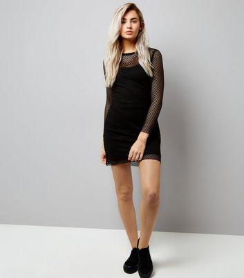 Petite Black Mesh Bodycon Dress New Look