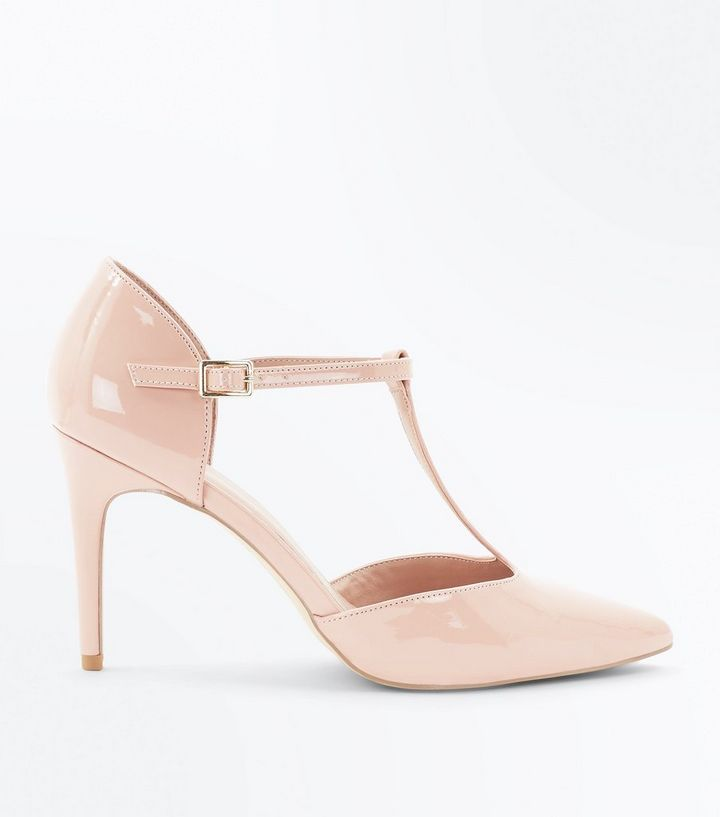 c8d01c5ed Pink Patent T-Bar Pointed Heels | New Look