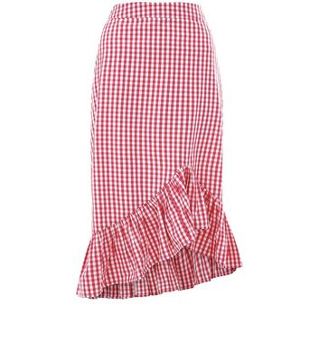 Pink Gingham Frill Trim Midi Skirt New Look