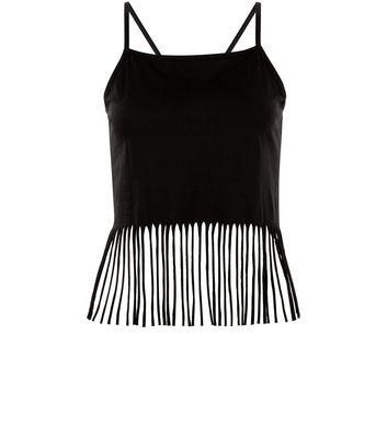 Black Fringe Hem Cropped Cami Top New Look