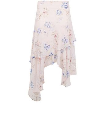 Pink Floral Print Hanky Hem Tiered Midi Skirt New Look