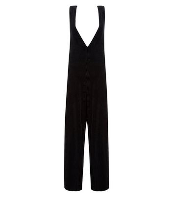 Black Ribbed Velvet Wide Leg Lounge Jumpsuit New Look