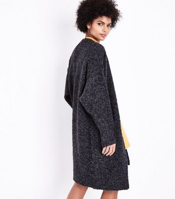 Tall Dark Grey Boucle Oversized Cardigan New Look