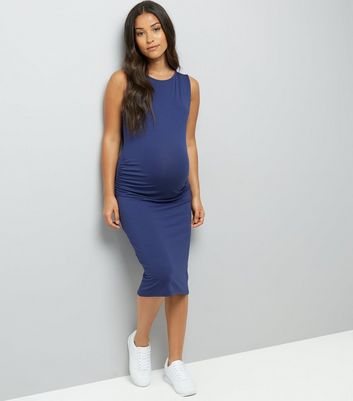 Maternity Navy Ruched Side Midi Dress New Look