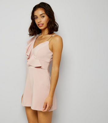 Petite Pink Asymmetric Frill Trim Playsuit New Look