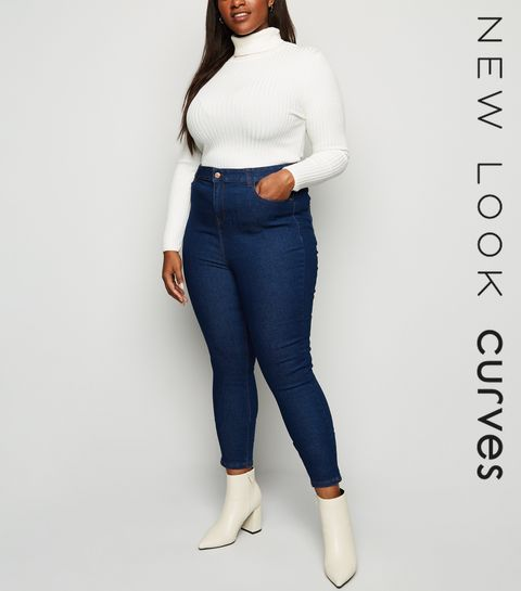 2834289301b ... Curves Blue High Waist Skinny Jeans ...