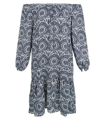 Apricot Navy Abstract Print Bardot Dress New Look
