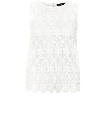 Cream Embroidered Daisy Lace Sleevless Top New Look