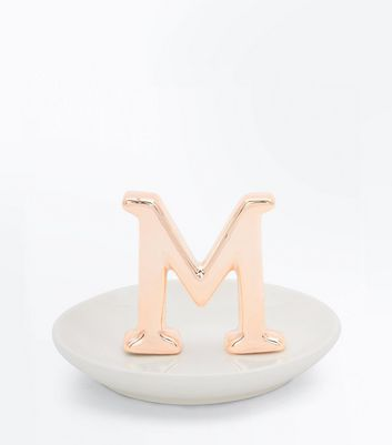 Gold M Initial Jewellery Tray New Look