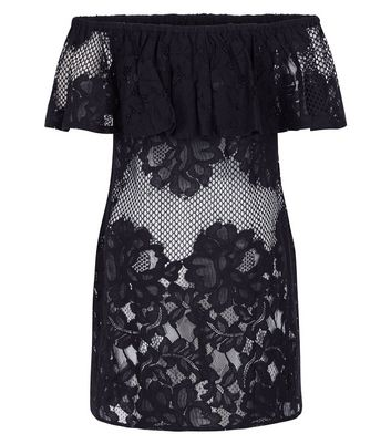 Black Fishnet And Lace Bardot Neck Beach Dress New Look