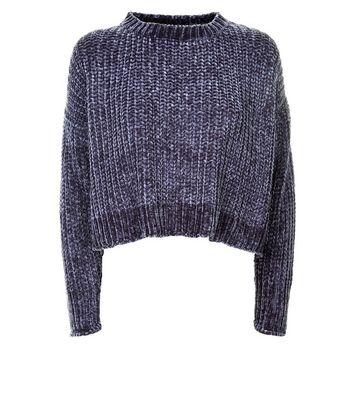 Blue Vanilla Dark Grey Chenille Knit Jumper New Look