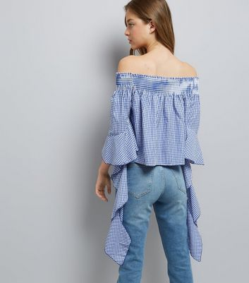 Blue Vanilla Blue Gingham Bardot Neck Top New Look