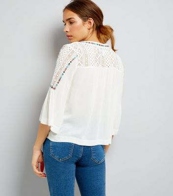 Blue Vanilla Cream Crochet Panel Top New Look