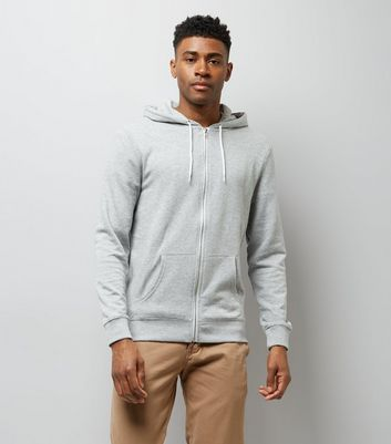 Grey Zip Front Hoodie New Look