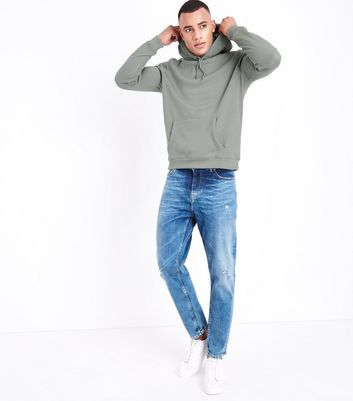 Olive Pocket Front Hoodie New Look