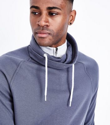 Dark Grey Funnel Neck Sweater New Look