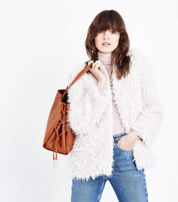 Tan Lace Up Side Tote Bag New Look