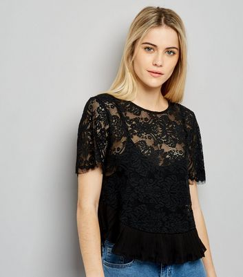 Pink Vanilla Black Lace Frill Hem Top New Look