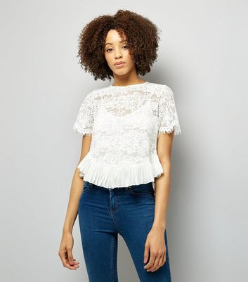 Pink Vanilla White Lace Frill Hem Top New Look