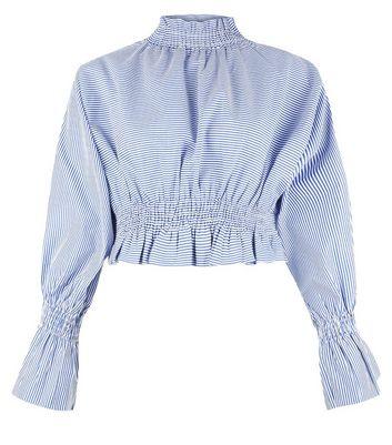 Pink Vanilla Blue Stripe Shirred Waist Top New Look