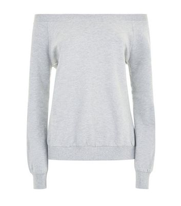 Grey Bardot Neck Sweatshirt New Look