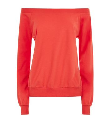 Red Bardot Neck Sweatshirt New Look