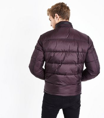 Burgundy Padded Puffer Jacket New Look