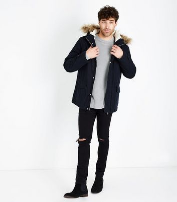 Navy Faux Fur Collar Parka Jacket New Look