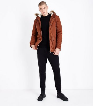 Rust Faux Fur Collar Parka Jacket New Look