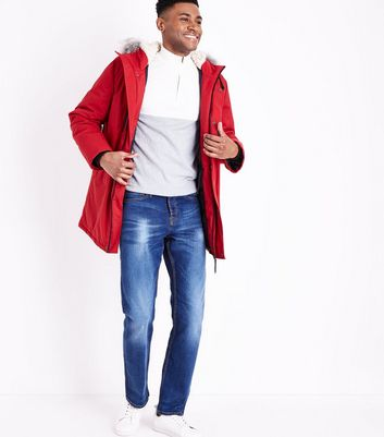 Red Parka Jacket New Look