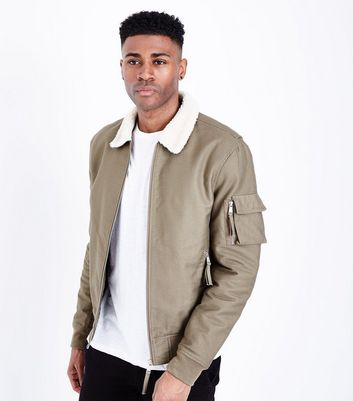 Khaki Aviator Jacket New Look