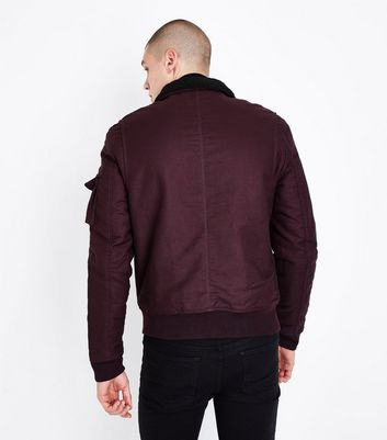 Burgundy Faux Fur Collar Jacket New Look