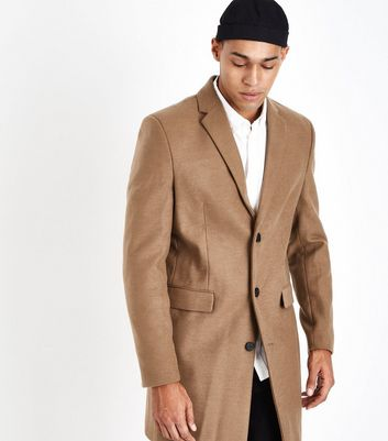 Camel Longline Revere Collar Overcoat New Look