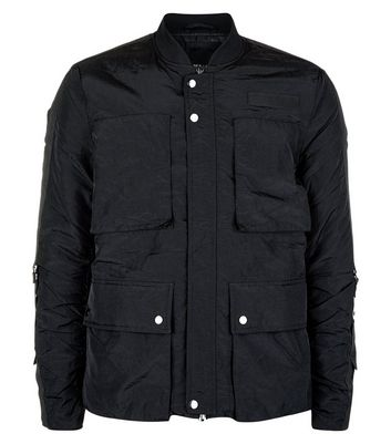 Black Patch Pocket Front Bomber Jacket New Look