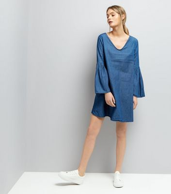 Mela Blue Denim Bell Sleeve Dress New Look