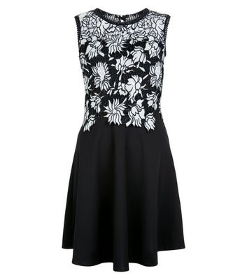 Mela Black Floral Lace Contrast Dress New Look