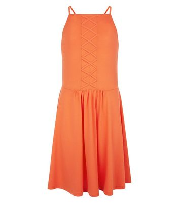 Teens Orange Lattice Front Skater Dress New Look