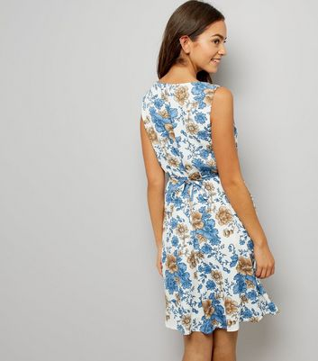 Mela White Floral Print Dress New Look