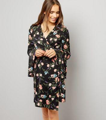 Black Floral Print Bell Sleeve Wrap Dress New Look