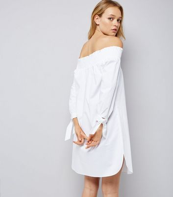 White Tie Sleeve Shirred Bardot Neck Dress New Look