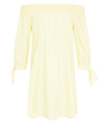 Yellow Tie Sleeve Shirred Bardot Neck Dress New Look
