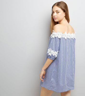 Blue Crochet Lace Trim Gingham Bardot Neck Dress New Look